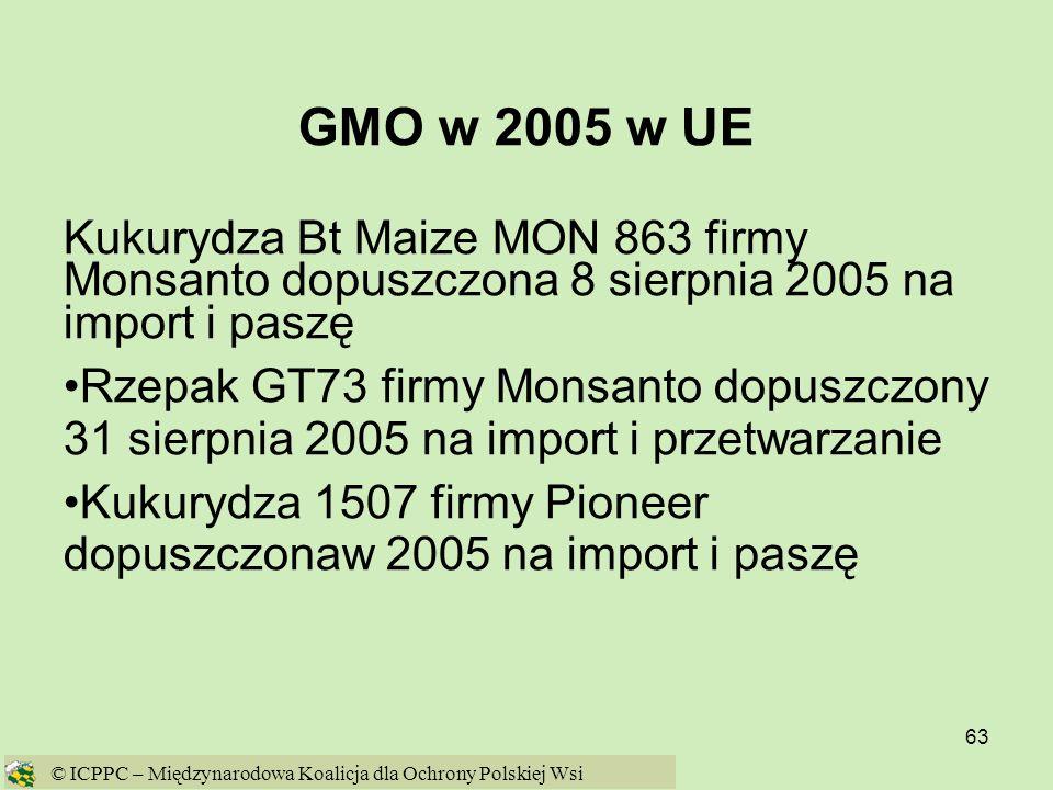 63 GMO w 2005 w UE Kukurydza Bt Maize MON 863 firmy Monsanto dopuszczona 8 sierpnia 2005 na import i paszę Rzepak GT73 firmy Monsanto dopuszczony 31 s