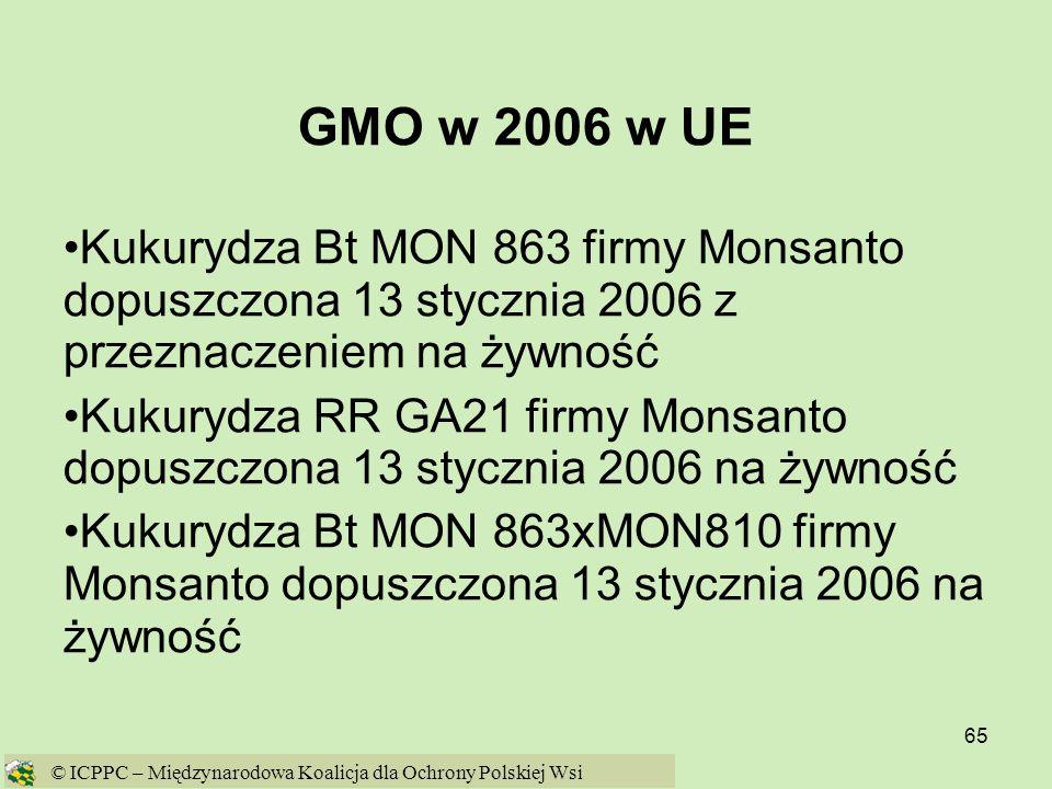 65 GMO w 2006 w UE Kukurydza Bt MON 863 firmy Monsanto dopuszczona 13 stycznia 2006 z przeznaczeniem na żywność Kukurydza RR GA21 firmy Monsanto dopus