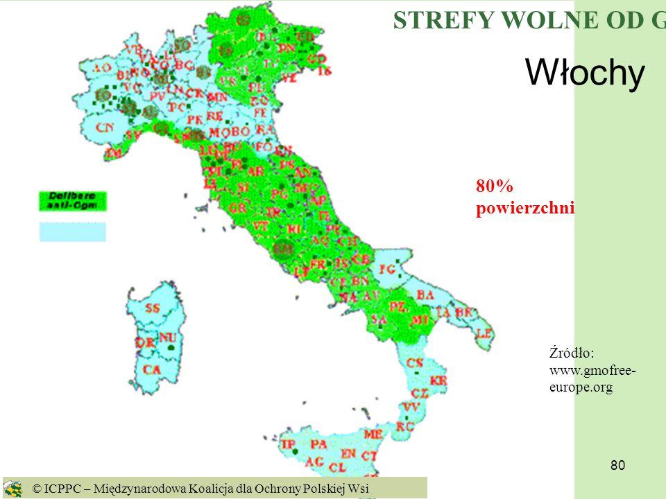 80 Włochy Źródło: www.gmofree- europe.org 80% powierzchni © ICPPC – Międzynarodowa Koalicja dla Ochrony Polskiej Wsi STREFY WOLNE OD GMO