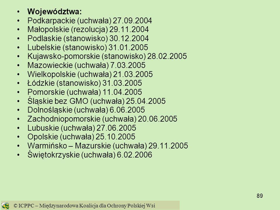 89 © ICPPC – Międzynarodowa Koalicja dla Ochrony Polskiej Wsi Województwa: Podkarpackie (uchwała) 27.09.2004 Małopolskie (rezolucja) 29.11.2004 Podlas