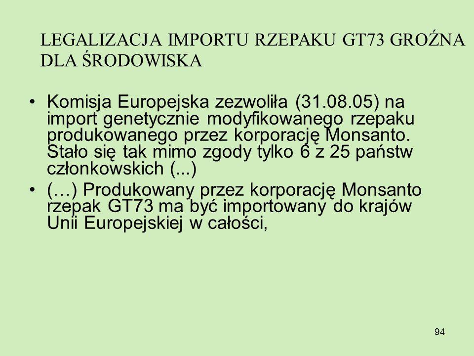 94 Komisja Europejska zezwoliła (31.08.05) na import genetycznie modyfikowanego rzepaku produkowanego przez korporację Monsanto. Stało się tak mimo zg