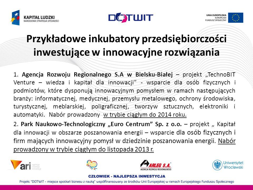 Przykładowe inkubatory przedsiębiorczości inwestujące w innowacyjne rozwiązania 1. Agencja Rozwoju Regionalnego S.A w Bielsku-Białej – projekt TechnoB