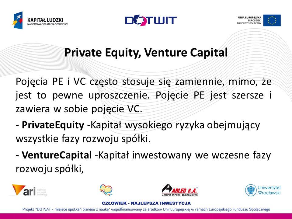 Private Equity, Venture Capital Pojęcia PE i VC często stosuje się zamiennie, mimo, że jest to pewne uproszczenie. Pojęcie PE jest szersze i zawiera w