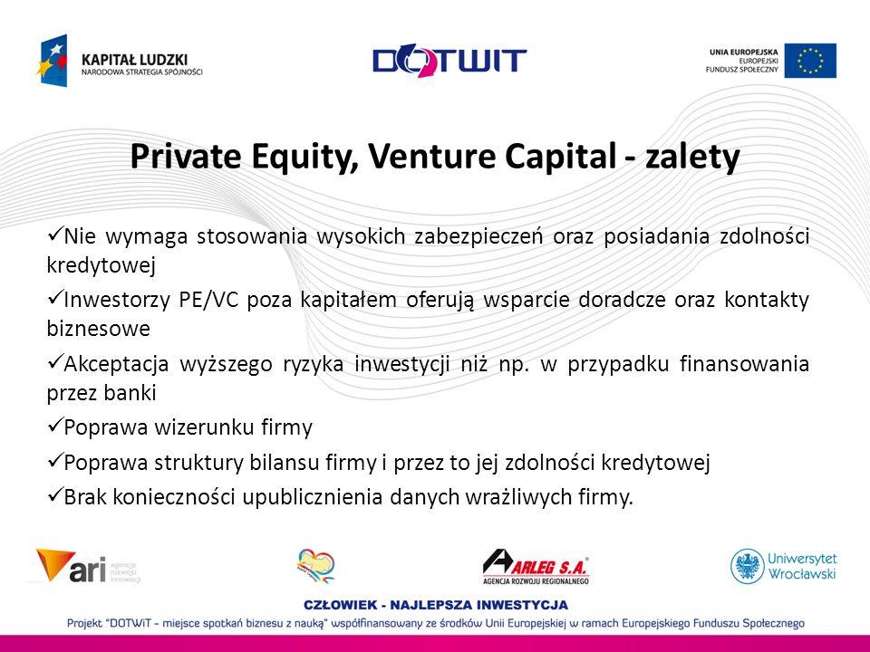 Private Equity, Venture Capital - zalety Nie wymaga stosowania wysokich zabezpieczeń oraz posiadania zdolności kredytowej Inwestorzy PE/VC poza kapita