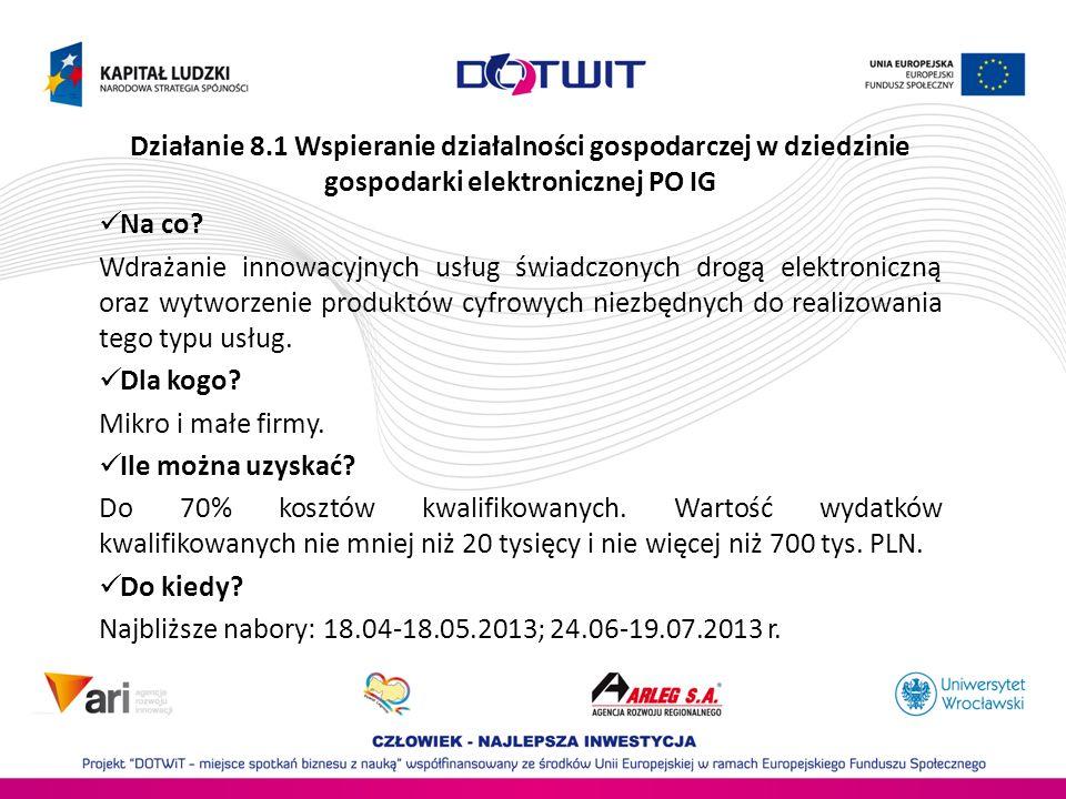 Działanie 8.1 Wspieranie działalności gospodarczej w dziedzinie gospodarki elektronicznej PO IG Na co? Wdrażanie innowacyjnych usług świadczonych drog