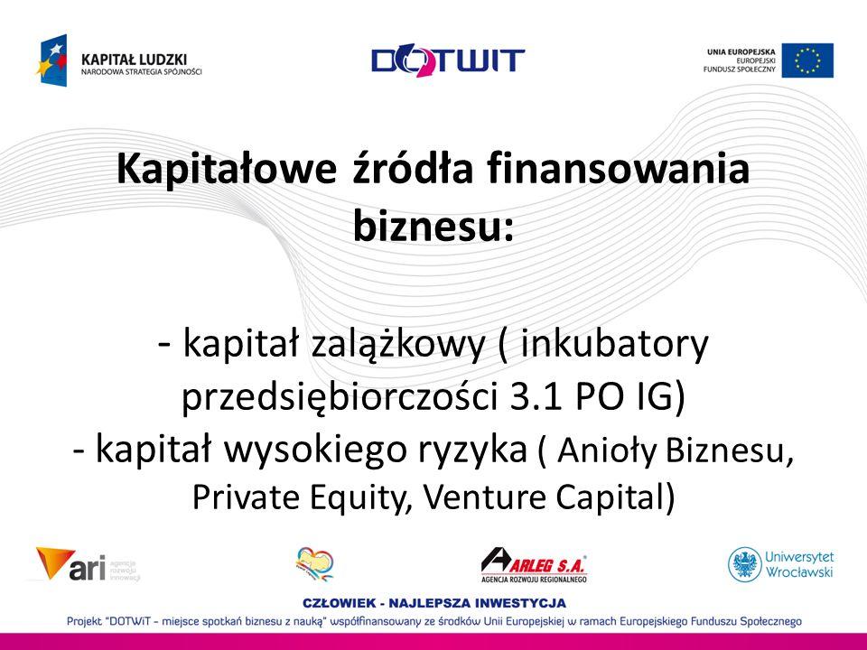 Kapitałowe źródła finansowania biznesu: - kapitał zalążkowy ( inkubatory przedsiębiorczości 3.1 PO IG) - kapitał wysokiego ryzyka ( Anioły Biznesu, Pr