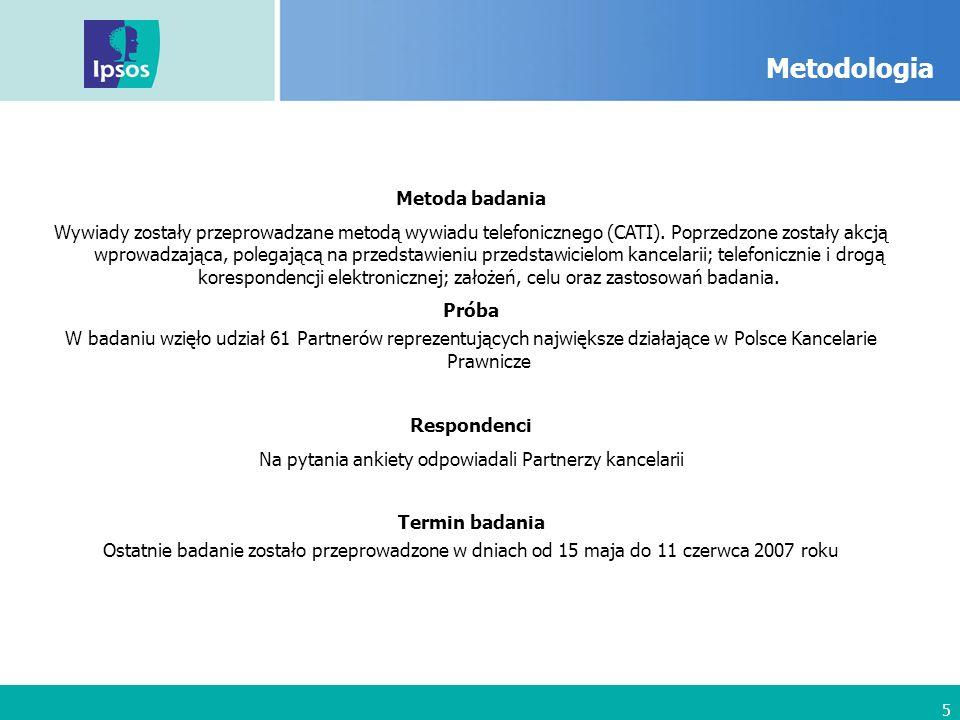 5 Metodologia Metoda badania Wywiady zostały przeprowadzane metodą wywiadu telefonicznego (CATI).