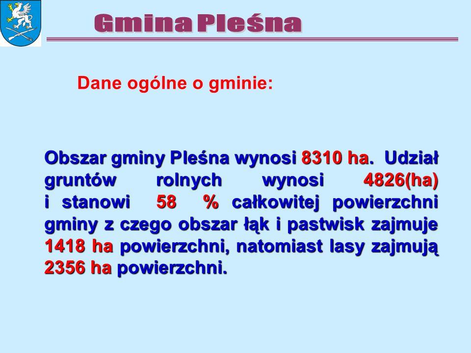 Obszar gminy Pleśna wynosi 8310 ha. Udział gruntów rolnych wynosi 4826(ha) i stanowi 58 % całkowitej powierzchni gminy z czego obszar łąk i pastwisk z