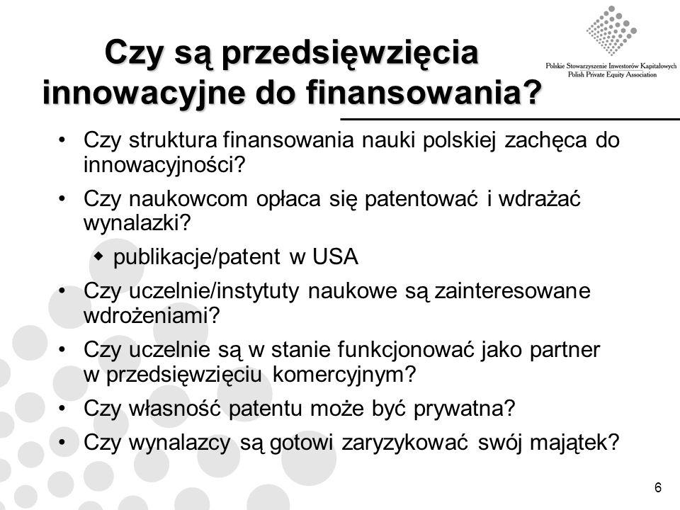 6 Czy są przedsięwzięcia innowacyjne do finansowania? Czy struktura finansowania nauki polskiej zachęca do innowacyjności? Czy naukowcom opłaca się pa