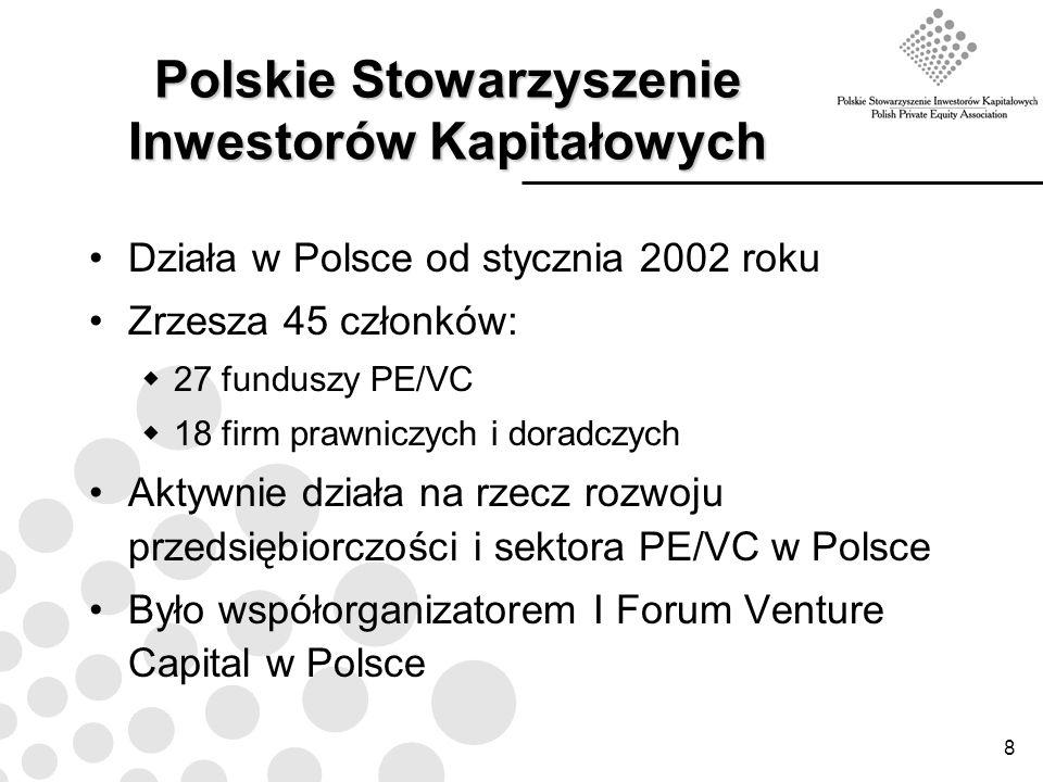 8 Polskie Stowarzyszenie Inwestorów Kapitałowych Działa w Polsce od stycznia 2002 roku Zrzesza 45 członków: 27 funduszy PE/VC 18 firm prawniczych i do