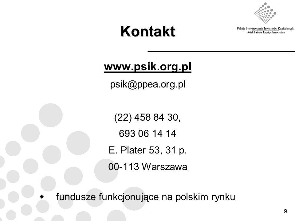 9 Kontakt www.psik.org.pl psik@ppea.org.pl (22) 458 84 30, 693 06 14 14 E. Plater 53, 31 p. 00-113 Warszawa fundusze funkcjonujące na polskim rynku