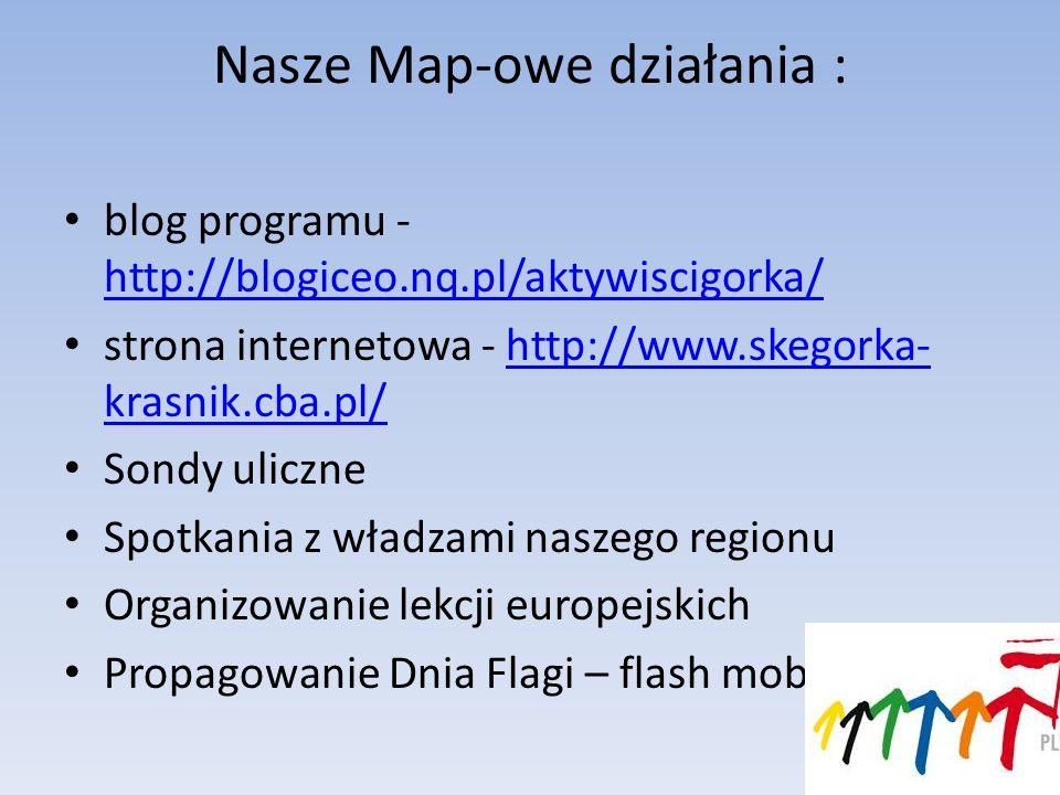 Nasze Map-owe działania : blog programu - http://blogiceo.nq.pl/aktywiscigorka/ http://blogiceo.nq.pl/aktywiscigorka/ strona internetowa - http://www.