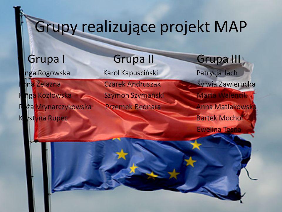 Grupy realizujące projekt MAP Grupa I Grupa II Grupa III Kinga Rogowska Karol Kapuściński Patrycja Jach Ilona Żelazna Czarek Andruszak Sylwia Zawieruc