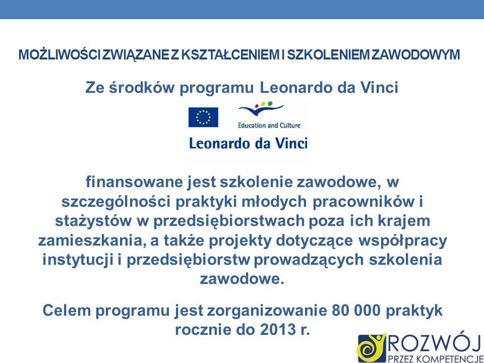 MOŻLIWOŚCI ZWIĄZANE Z KSZTAŁCENIEM I SZKOLENIEM ZAWODOWYM Ze środków programu Leonardo da Vinci finansowane jest szkolenie zawodowe, w szczególności p