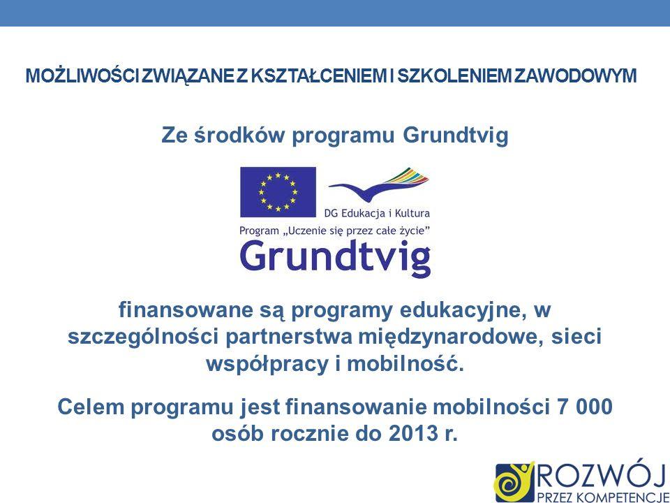 MOŻLIWOŚCI ZWIĄZANE Z KSZTAŁCENIEM I SZKOLENIEM ZAWODOWYM Ze środków programu Grundtvig finansowane są programy edukacyjne, w szczególności partnerstw