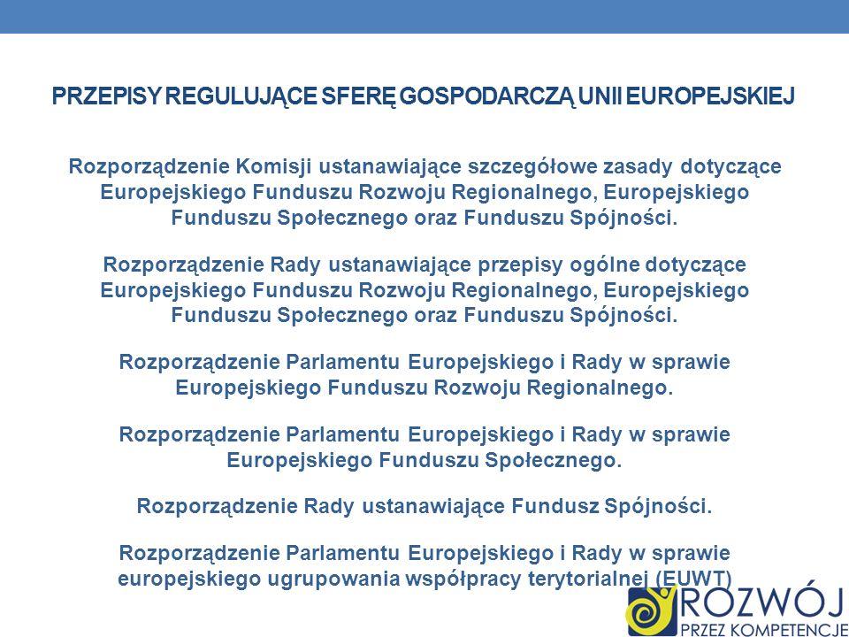PRZEPISY REGULUJĄCE SFERĘ GOSPODARCZĄ UNII EUROPEJSKIEJ Rozporządzenie Komisji ustanawiające szczegółowe zasady dotyczące Europejskiego Funduszu Rozwo