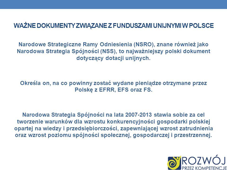 WAŻNE DOKUMENTY ZWIĄZANE Z FUNDUSZAMI UNIJNYMI W POLSCE Narodowe Strategiczne Ramy Odniesienia (NSRO), znane również jako Narodowa Strategia Spójności