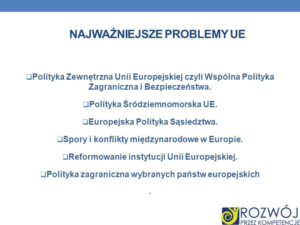NAJWAŻNIEJSZE PROBLEMY UE Polityka Zewnętrzna Unii Europejskiej czyli Wspólna Polityka Zagraniczna i Bezpieczeństwa. Polityka Śródziemnomorska UE. Eur