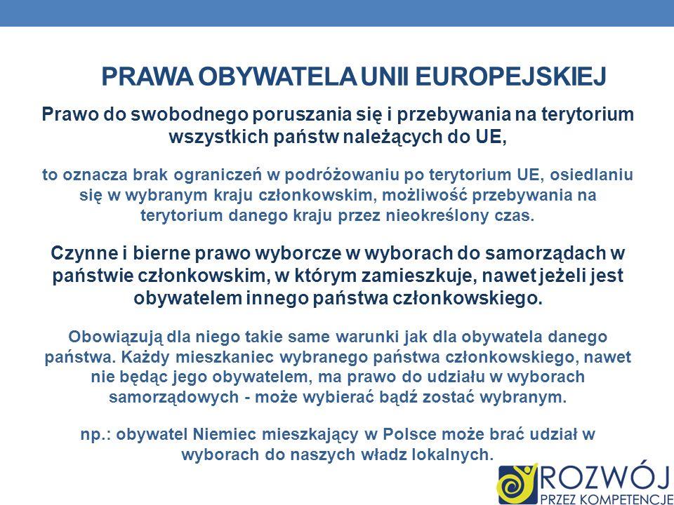 PRAWA OBYWATELA UNII EUROPEJSKIEJ Prawo do swobodnego poruszania się i przebywania na terytorium wszystkich państw należących do UE, to oznacza brak o