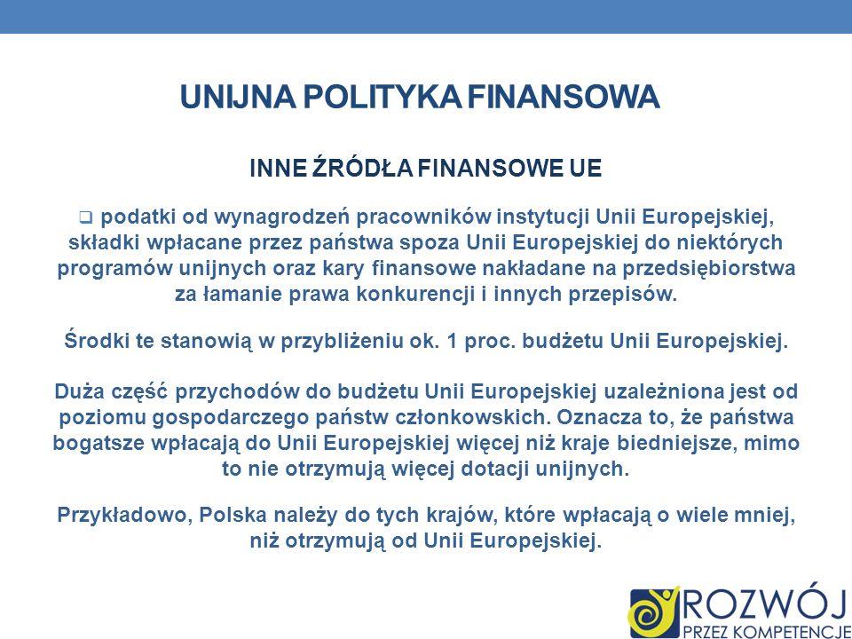 UNIJNA POLITYKA FINANSOWA INNE ŹRÓDŁA FINANSOWE UE podatki od wynagrodzeń pracowników instytucji Unii Europejskiej, składki wpłacane przez państwa spo