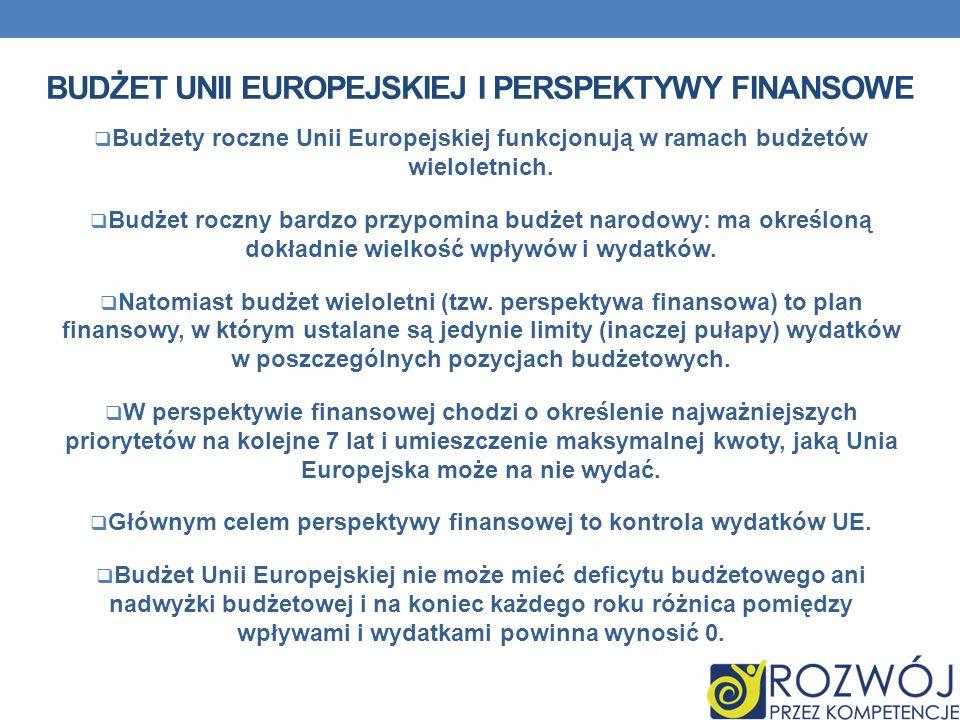 BUDŻET UNII EUROPEJSKIEJ I PERSPEKTYWY FINANSOWE Budżety roczne Unii Europejskiej funkcjonują w ramach budżetów wieloletnich. Budżet roczny bardzo prz