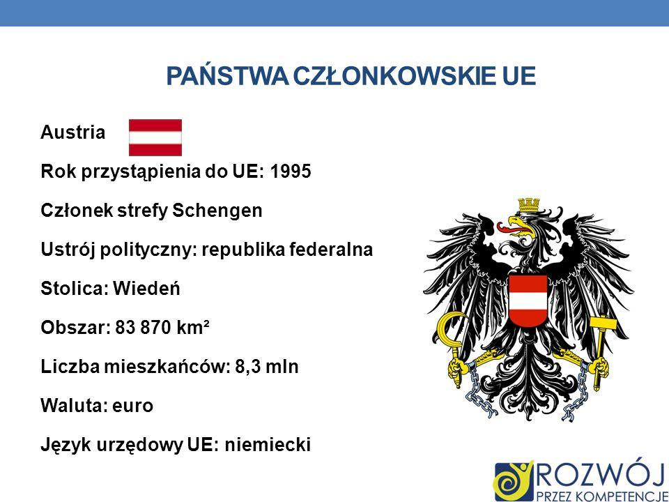 PAŃSTWA CZŁONKOWSKIE UE Austria Rok przystąpienia do UE: 1995 Członek strefy Schengen Ustrój polityczny: republika federalna Stolica: Wiedeń Obszar: 8