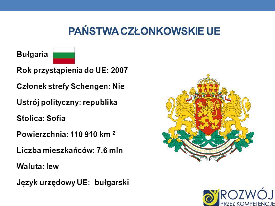 PAŃSTWA CZŁONKOWSKIE UE Bułgaria Rok przystąpienia do UE: 2007 Członek strefy Schengen: Nie Ustrój polityczny: republika Stolica: Sofia Powierzchnia: