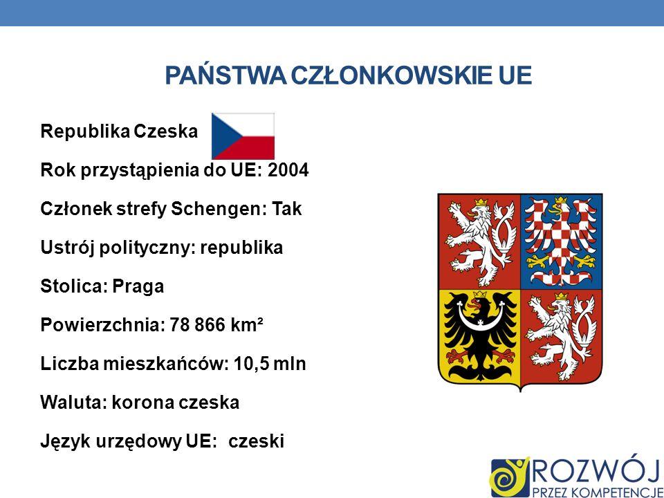 PAŃSTWA CZŁONKOWSKIE UE Republika Czeska Rok przystąpienia do UE: 2004 Członek strefy Schengen: Tak Ustrój polityczny: republika Stolica: Praga Powier