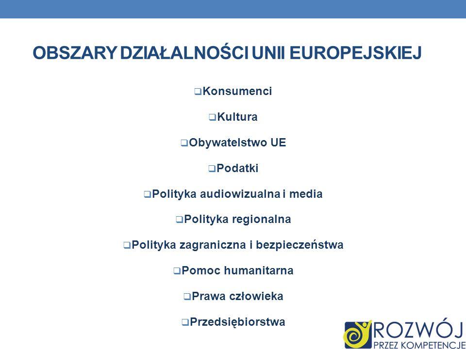 OBSZARY DZIAŁALNOŚCI UNII EUROPEJSKIEJ Konsumenci Kultura Obywatelstwo UE Podatki Polityka audiowizualna i media Polityka regionalna Polityka zagranic