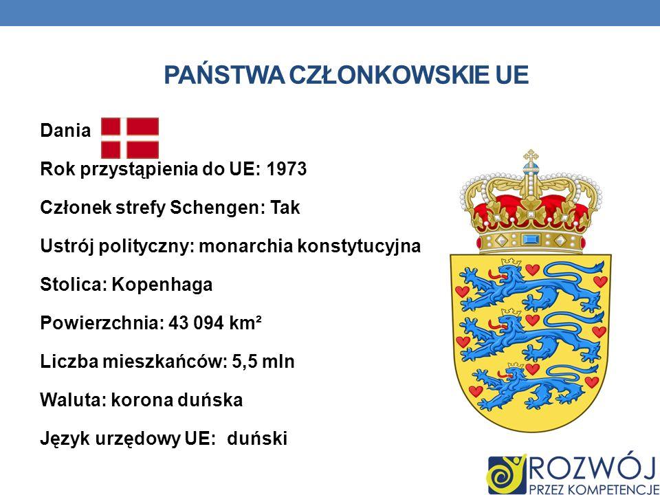 PAŃSTWA CZŁONKOWSKIE UE Dania Rok przystąpienia do UE: 1973 Członek strefy Schengen: Tak Ustrój polityczny: monarchia konstytucyjna Stolica: Kopenhaga