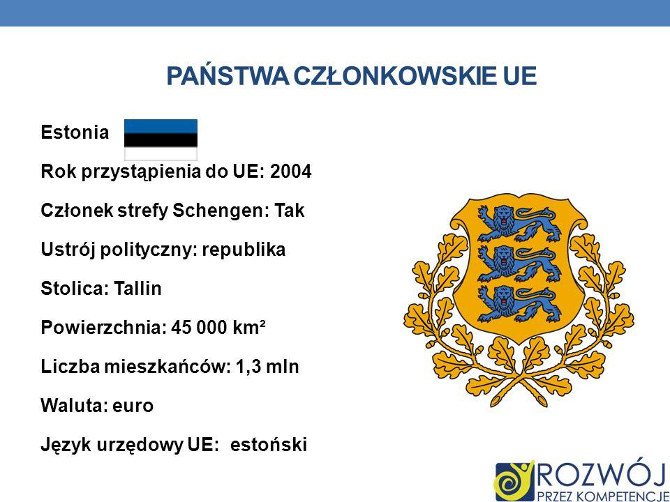 PAŃSTWA CZŁONKOWSKIE UE Estonia Rok przystąpienia do UE: 2004 Członek strefy Schengen: Tak Ustrój polityczny: republika Stolica: Tallin Powierzchnia: