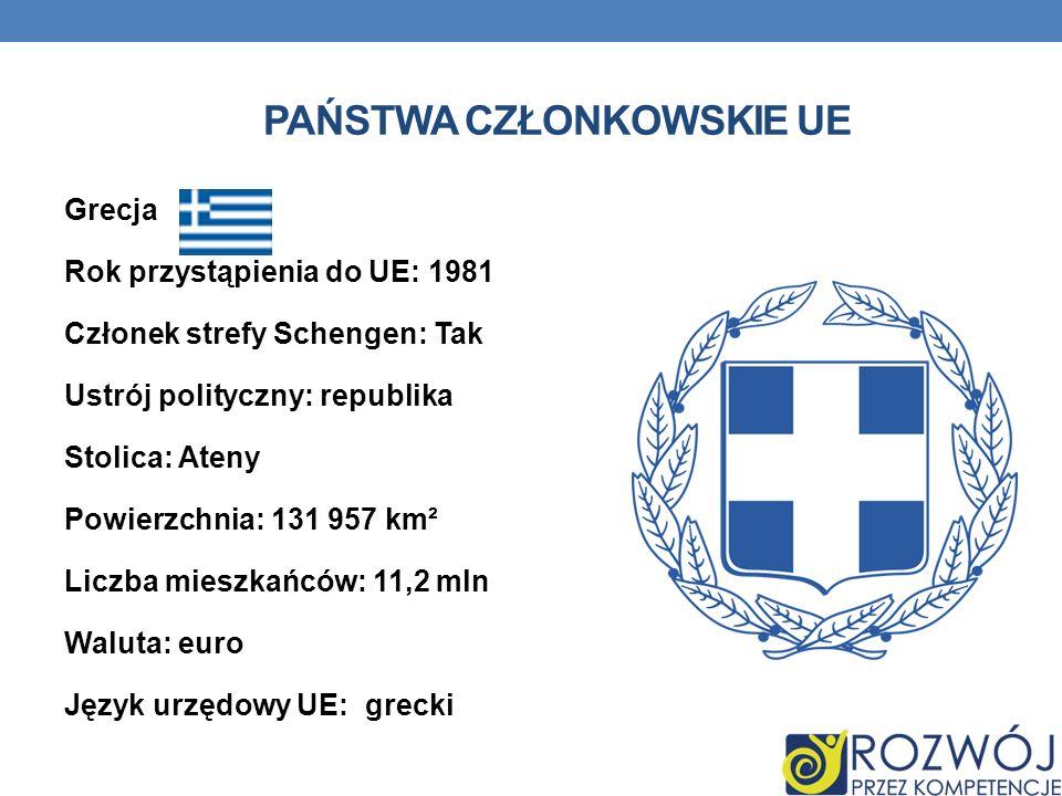 PAŃSTWA CZŁONKOWSKIE UE Grecja Rok przystąpienia do UE: 1981 Członek strefy Schengen: Tak Ustrój polityczny: republika Stolica: Ateny Powierzchnia: 13