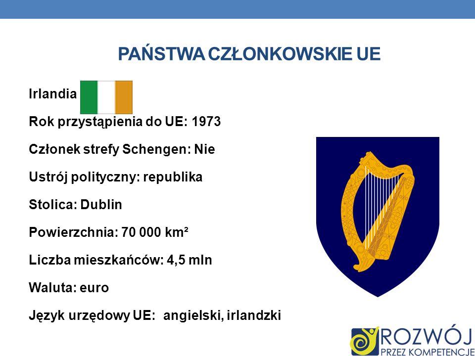 PAŃSTWA CZŁONKOWSKIE UE Irlandia Rok przystąpienia do UE: 1973 Członek strefy Schengen: Nie Ustrój polityczny: republika Stolica: Dublin Powierzchnia: