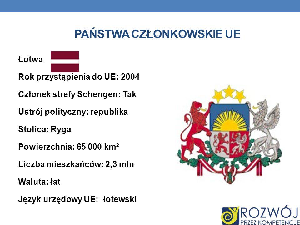 PAŃSTWA CZŁONKOWSKIE UE Łotwa Rok przystąpienia do UE: 2004 Członek strefy Schengen: Tak Ustrój polityczny: republika Stolica: Ryga Powierzchnia: 65 0