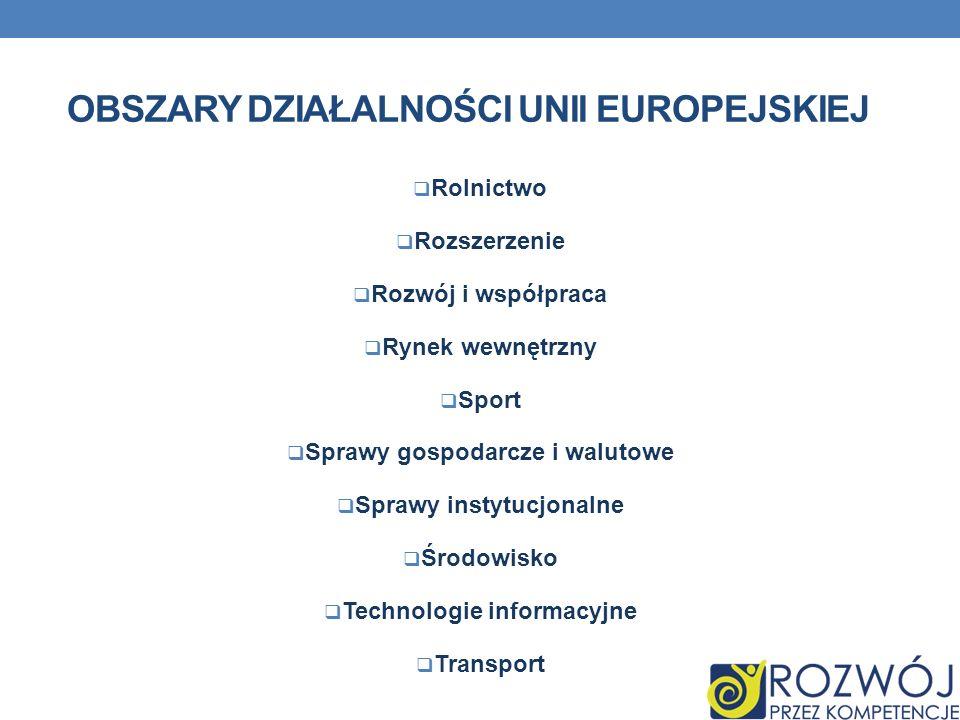 OBSZARY DZIAŁALNOŚCI UNII EUROPEJSKIEJ Rolnictwo Rozszerzenie Rozwój i współpraca Rynek wewnętrzny Sport Sprawy gospodarcze i walutowe Sprawy instytuc
