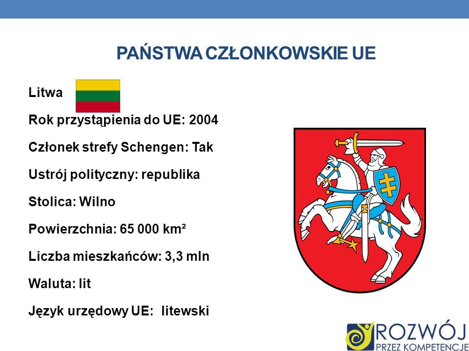 PAŃSTWA CZŁONKOWSKIE UE Litwa Rok przystąpienia do UE: 2004 Członek strefy Schengen: Tak Ustrój polityczny: republika Stolica: Wilno Powierzchnia: 65