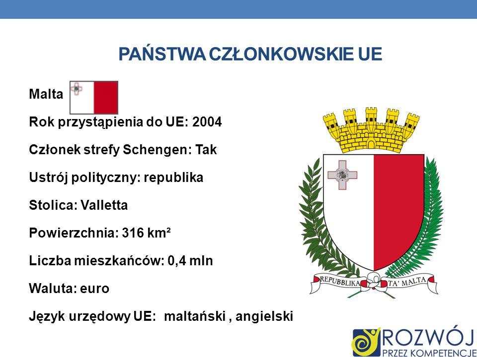 PAŃSTWA CZŁONKOWSKIE UE Malta Rok przystąpienia do UE: 2004 Członek strefy Schengen: Tak Ustrój polityczny: republika Stolica: Valletta Powierzchnia:
