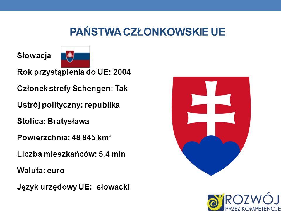 PAŃSTWA CZŁONKOWSKIE UE Słowacja Rok przystąpienia do UE: 2004 Członek strefy Schengen: Tak Ustrój polityczny: republika Stolica: Bratysława Powierzch
