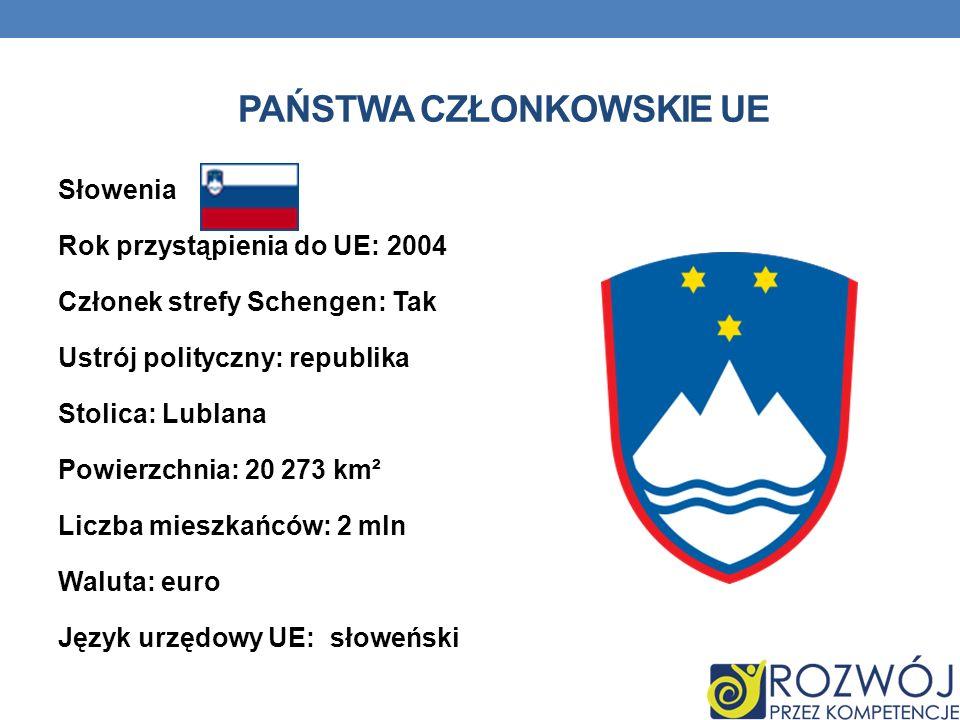 PAŃSTWA CZŁONKOWSKIE UE Słowenia Rok przystąpienia do UE: 2004 Członek strefy Schengen: Tak Ustrój polityczny: republika Stolica: Lublana Powierzchnia