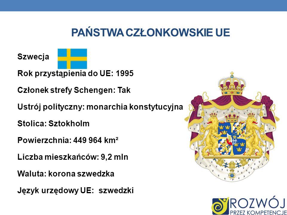 PAŃSTWA CZŁONKOWSKIE UE Szwecja Rok przystąpienia do UE: 1995 Członek strefy Schengen: Tak Ustrój polityczny: monarchia konstytucyjna Stolica: Sztokho