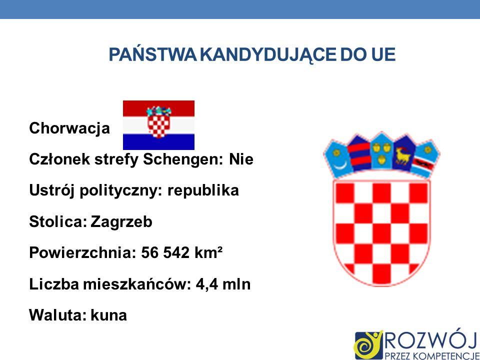 PAŃSTWA KANDYDUJĄCE DO UE Chorwacja Członek strefy Schengen: Nie Ustrój polityczny: republika Stolica: Zagrzeb Powierzchnia: 56 542 km² Liczba mieszka