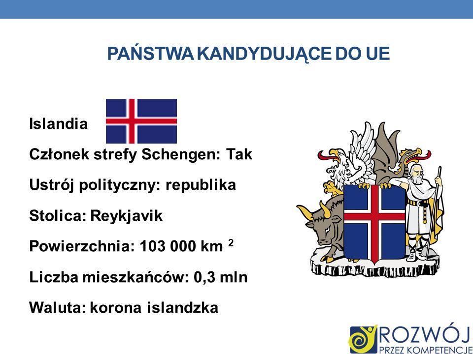 PAŃSTWA KANDYDUJĄCE DO UE Islandia Członek strefy Schengen: Tak Ustrój polityczny: republika Stolica: Reykjavik Powierzchnia: 103 000 km 2 Liczba mies