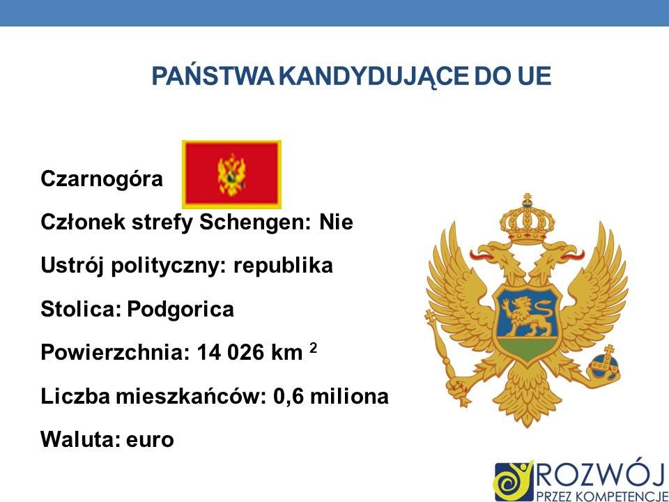 PAŃSTWA KANDYDUJĄCE DO UE Czarnogóra Członek strefy Schengen: Nie Ustrój polityczny: republika Stolica: Podgorica Powierzchnia: 14 026 km 2 Liczba mie