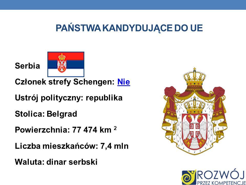 PAŃSTWA KANDYDUJĄCE DO UE Serbia Członek strefy Schengen: NieNie Ustrój polityczny: republika Stolica: Belgrad Powierzchnia: 77 474 km 2 Liczba mieszk