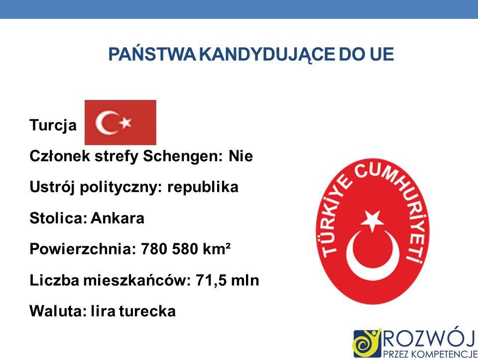 PAŃSTWA KANDYDUJĄCE DO UE Turcja Członek strefy Schengen: Nie Ustrój polityczny: republika Stolica: Ankara Powierzchnia: 780 580 km² Liczba mieszkańcó