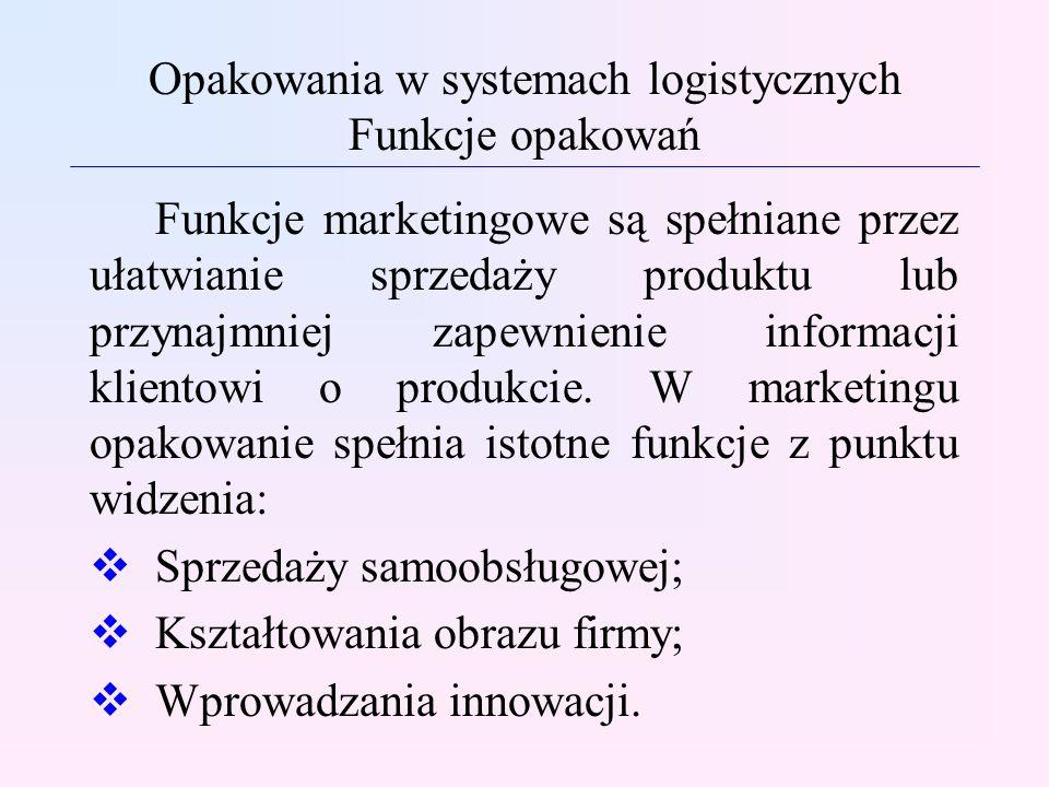 Opakowania w systemach logistycznych Funkcje opakowań Funkcje marketingowe są spełniane przez ułatwianie sprzedaży produktu lub przynajmniej zapewnien