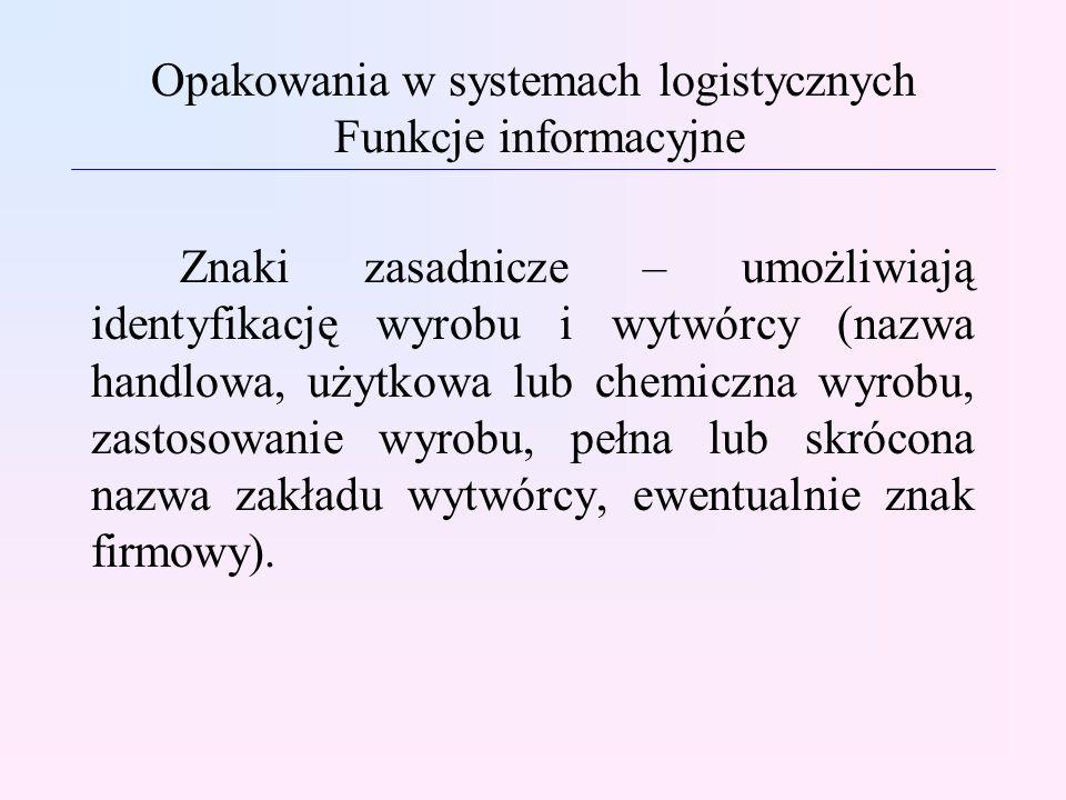 Opakowania w systemach logistycznych Funkcje informacyjne Znaki zasadnicze – umożliwiają identyfikację wyrobu i wytwórcy (nazwa handlowa, użytkowa lub