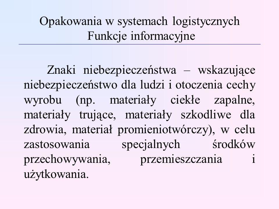 Opakowania w systemach logistycznych Funkcje informacyjne Znaki niebezpieczeństwa – wskazujące niebezpieczeństwo dla ludzi i otoczenia cechy wyrobu (n