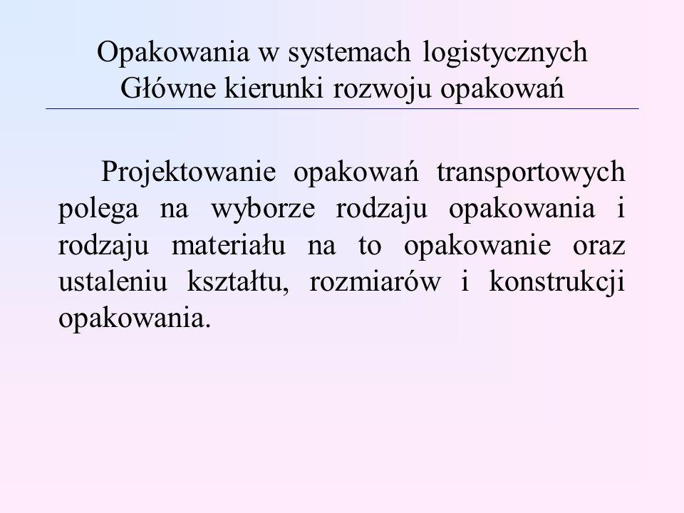 Opakowania w systemach logistycznych Główne kierunki rozwoju opakowań Projektowanie opakowań transportowych polega na wyborze rodzaju opakowania i rod
