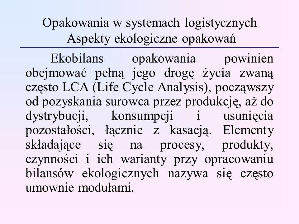 Opakowania w systemach logistycznych Aspekty ekologiczne opakowań Ekobilans opakowania powinien obejmować pełną jego drogę życia zwaną często LCA (Lif